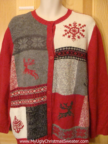 Ugly Christmas Sweater Cardigan Reindeer Snowflakes