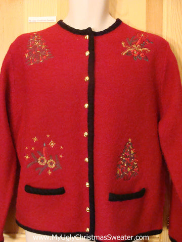 Ugly Christmas Sweater Red Wool Cardigan