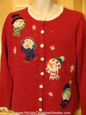 Ugly Red Christmas Sweater with Four Snowmen Heads