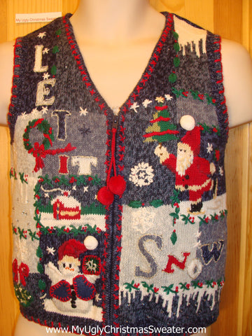 Child Ugly Christmas Sweater Vest LET IT SNOW