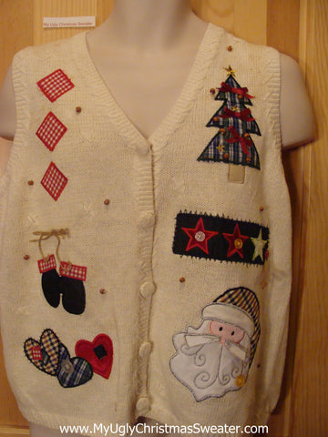 Ugly Christmas Sweater Vest Plaid Trees with Bows
