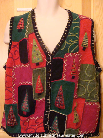 Ugly Christmas Sweater Vest Patchwork Trees Embroidery