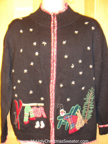 Tacky Ugly Christmas Sweater with 2sided Snowfilled Night Design Getting the Christmas Tree (f211)