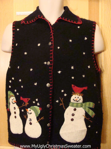 Ugly Christmas Sweater Vest Snowmen and Red Trim