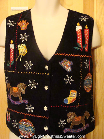 Cheap Ugly Christmas Sweater Vest Rocking Horse