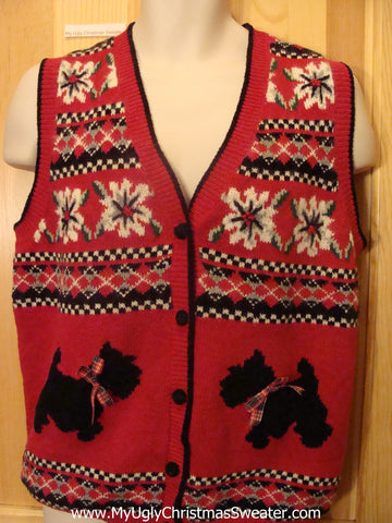 Ugly Red Christmas Sweater Vest Scottie Dogs