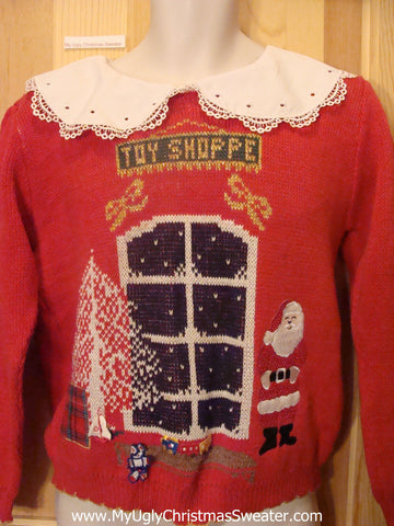 Ugly Christmas Sweater TOY SHOP 80s wIth Lace Collar