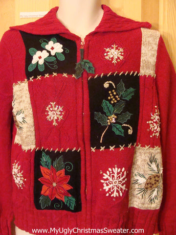 Ugly Christmas Sweater Snowflakes and Poinsettias