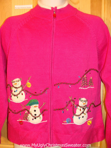 Pink Ugly Christmas Sweater Bling Snowmen