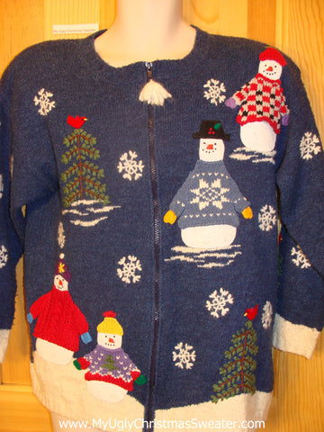 Ugly Christmas Sweater Two Sided Snowmen