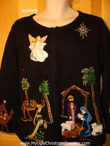 Tacky Ugly Christmas Sweater with Baby Jesus and Wisemen and an Angel with Tropical Palm Trees (f212)