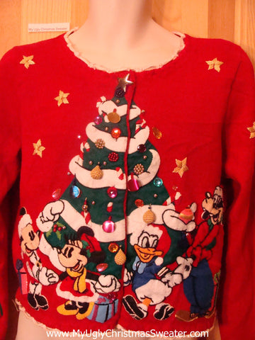 Ugly Red Christmas Sweater Disney Mickey Pluto