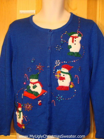 Ugly Christmas Sweater Bling Snowmen