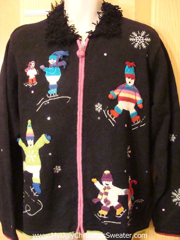 Ugly Christmas Sweater Skating Snowmen Furry Collar