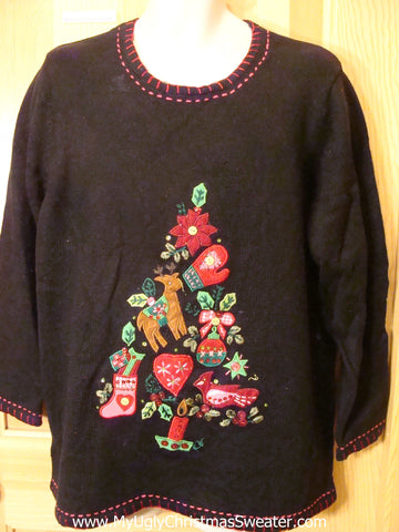 Ugly Christmas Sweater Two Sided Pullover with Tree
