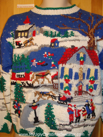 Tacky Ugly Christmas Sweater Bright & Festive 80s Two-Sided Winter Wonderland (f213)