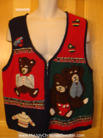 Ugly Christmas Sweater Vest with Bears