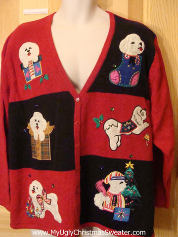 Ugly Christmas Sweater Westie Dog Cardigan Wm Mens XXXL