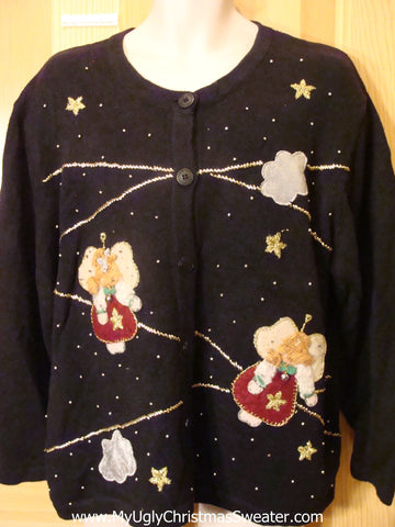 Ugly Christmas Sweater Black Cardigan with Angels