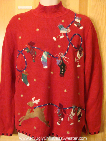 Ugly Christmas Sweater Reindeer and Stockings