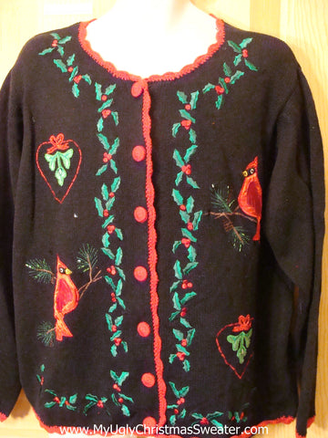 Ugly Christmas Sweater Red Cardinals Cardigan