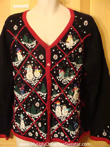 Ugly Christmas Sweater Sequin Snowmen