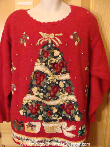 Ugly Christmas Sweater Red Pullover Huge Tree