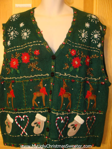 Ugly Christmas Sweater Vest with Reindeer, Poinsettias