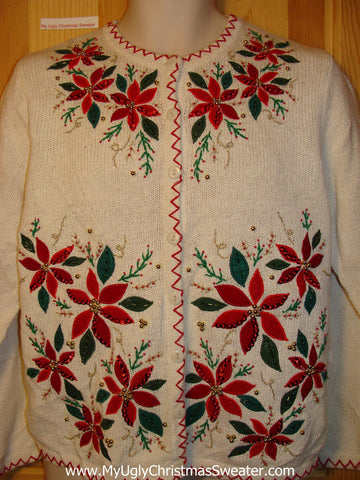 Tacky Ugly Christmas Sweater with Bling Red Poinsettias (f215)