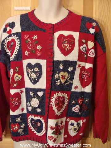 Ugly Christmas Sweater Patriotic Hearts