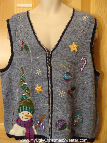 Ugly Christmas Sweater Vest with Snowmen and Ornaments