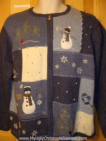 Tacky Ugly Christmas Sweater Zip Front & Snowmen & Snowflakes (f216)