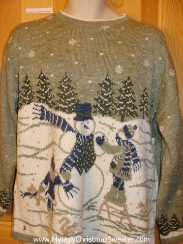 Ugly Christmas Sweater 80s Snowman Wonderland