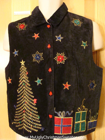 Cheap Ugly Christmas Sweater Party Vest Tree Gifts