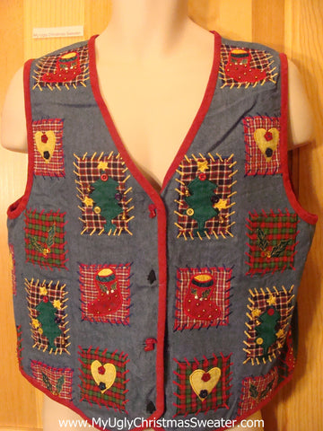 Cheap Ugly Christmas Sweater Party Vest Cotton