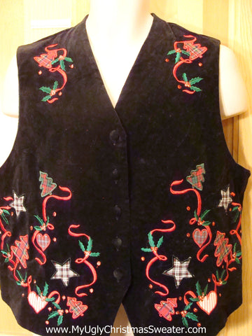 Cheap Ugly Christmas Sweater Party Vest Plaid Bells
