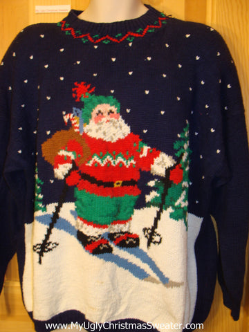 Ugly Christmas Sweater Skiing Santa Wms Mens XXXL