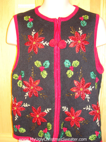 Tacky Ugly Christmas Sweater Vest with Bling Poinsettias & a Pom Pom Zipper Pull (f217)
