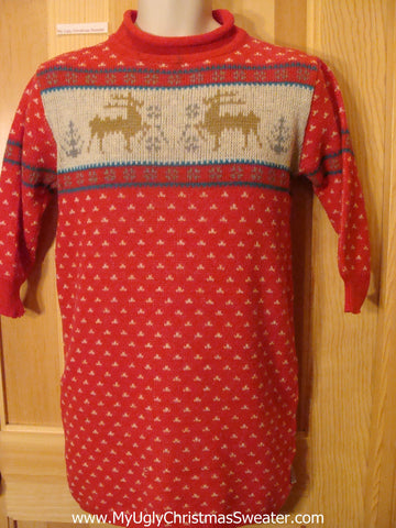 Child or XS Ugly Christmas Sweater Reindeer Short Dress