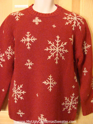 Ugly Christmas Sweater Red Snowflakes Nordic Pullover