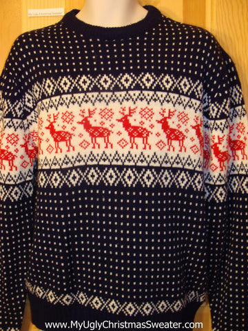 Ugly Mens Christmas Sweater Red Reindeer Vintage