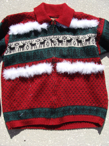 Ugly Red Christmas Sweater with Reindeer Vintage