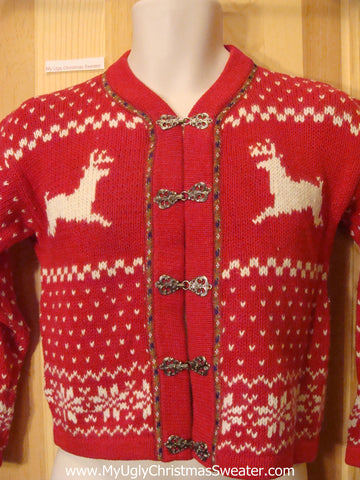Child Red Ugly Christmas Sweater with Reindeer