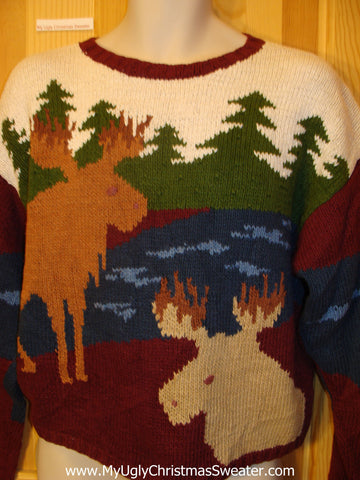 Ugly Christmas Sweater with Moose Reindeer Vintage