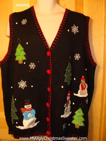 Tacky Ugly Christmas Sweater Vest with a Winter Wonderland Night Sky with Happy Snowmen in the Woods (f218)