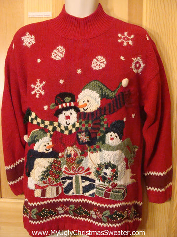 Ugly Christmas Sweater Snowman Family