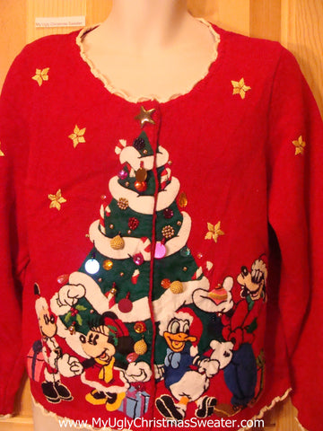 Disney Ugly Christmas Sweater Pluto Micky Minny