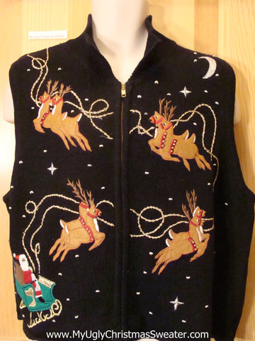 Ugly Christmas Sweater Vest Flying Reindeer