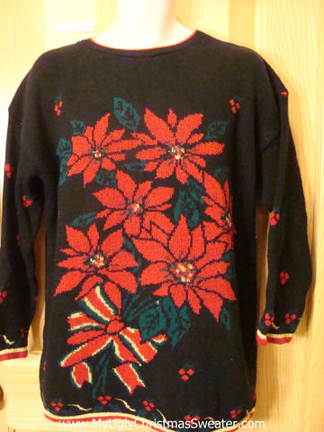 Ugly Christmas Sweater 80s Poinsettias