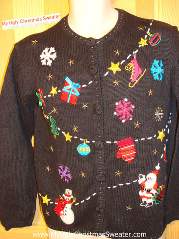 Tacky Ugly Christmas Sweater with Snowflakes, Santa, Snowman and a Skate (f20)